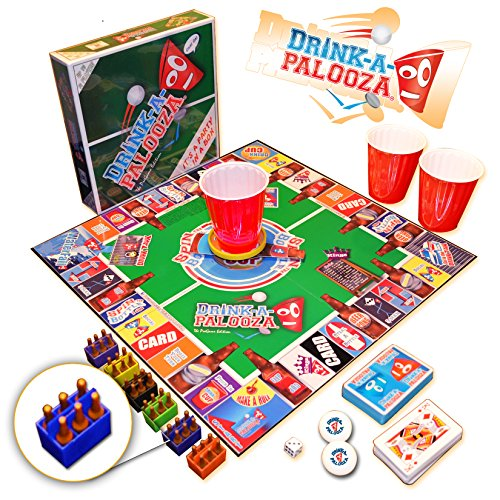 "DRINK-A-PALOOZA Board Game: The ""Monopoly"" of Drinking Games & Adult Games featuring Beer Pong, Flip Cup & all the best Games for Adults"
