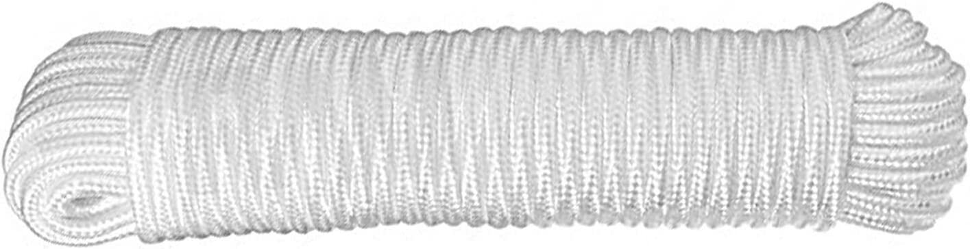 Nylon Braided Rope,50feet Paracord Solid Braided Multi-Purpose Utility Rope 9mm 3//8 Inch White Soft Single Pack Nylon Ropes,Polypropylene Rope,White