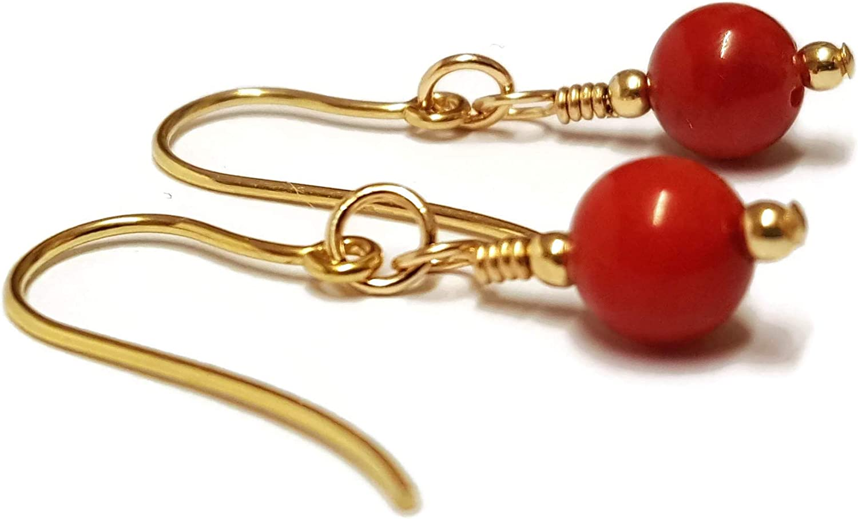 Pendientes de coral rojo, pendientes de oro de 9 quilates, ganchos, gotas, cuentas de piedras preciosas