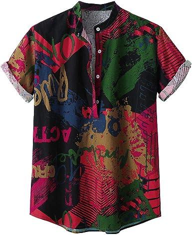 YEBIRAL Camisetas Hombre Manga Corta Verano Suelto Personalidad Impresión con Botones Blusa Camisa Hawaiana para Hombre Hawaii Shirt(2XL, Rojo): Amazon.es: Ropa y accesorios