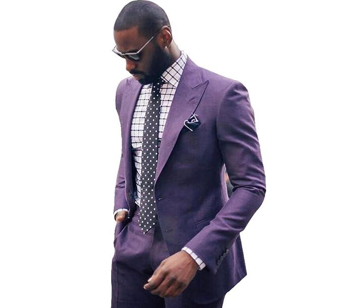 Amazon.com: Hombre Traje solapa 2 PC traje de negocios novio ...