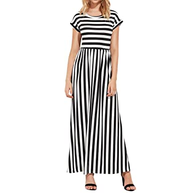 Misaky Womens Short Sleeve ElasticWaist Striped Casual Maxi Dress with Pockets (S, Black)
