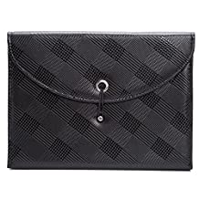Expandable Portable Hand-Held Accordion File Document Folder Black Leather Business File Organizer A4 and Letter Size 13 Pockets