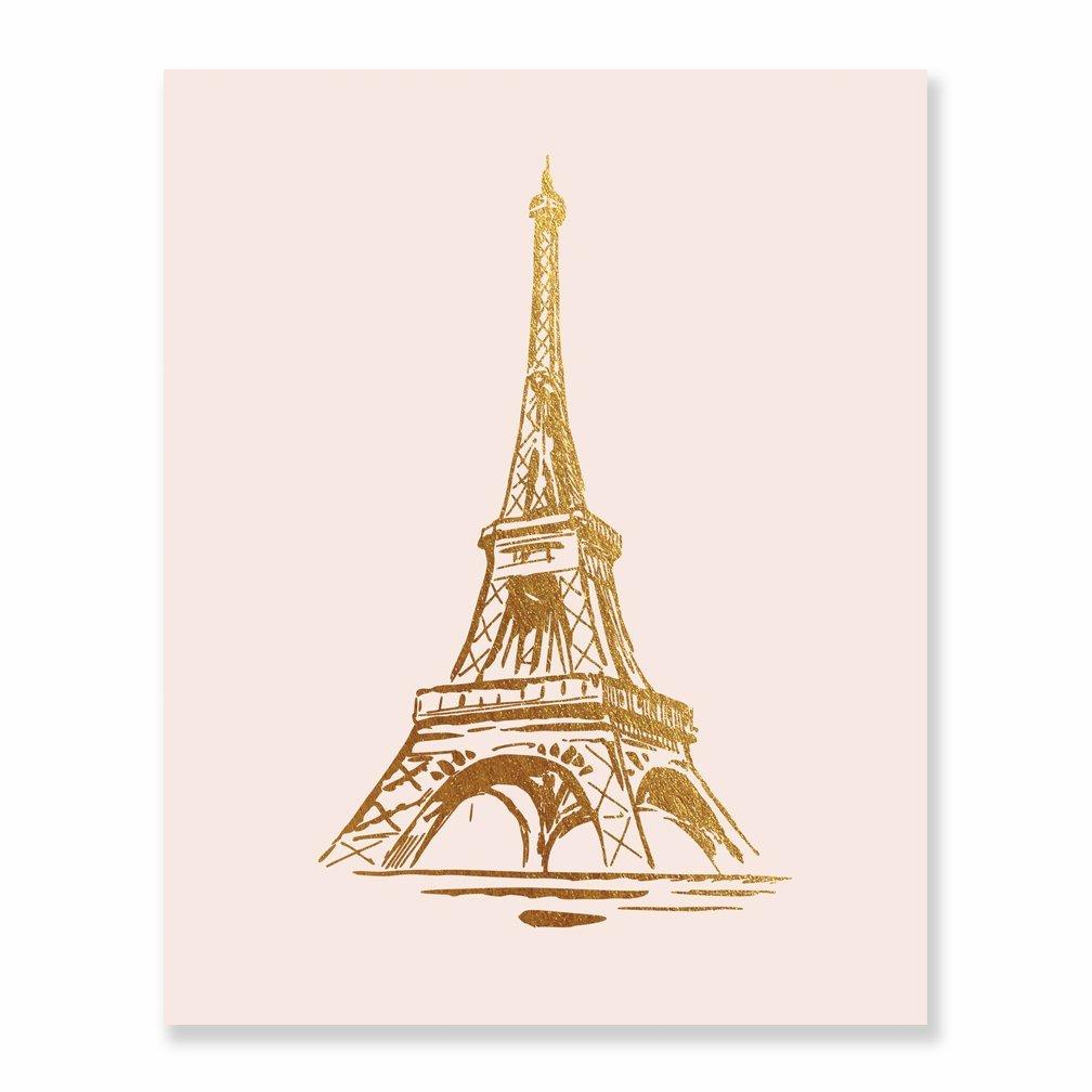 0d6eeec6494 Amazon.com  Eiffel Tower Gold Foil Print Wall Art Home Decor France Paris  Fashion Blush Pink Poster Metallic 8 inches x 10 inches B19  Handmade