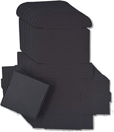 10pcs / Lot 12sizes Cuadro pequeño Papel Kraft, cartón Caja de jabón Hecho a Mano de Color marrón, Caja de Regalo de Papel del Arte Blanco, Negro Embalaje joyero, Negro, 5.5x5.5x2.5cm: Amazon.es: