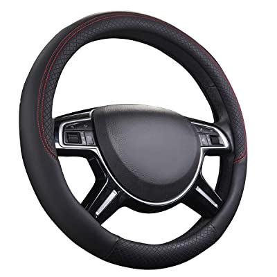 CAR PASS Rhombus Leather Universal Steering Wheel Cover, Fit for Suvs,Trucks,Cars,Sedans,Vans(Black and Black): Automotive