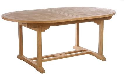 Amazoncom Teak Elzas Oval Extension Table Made By Chic Teak - Teak extension table outdoor