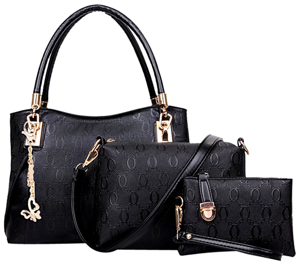 6a65d59047bd Deluxe Women 3 Piece Tote Bag Pu Leather Handbag Purse Bags Set (Black4)  190033366379. Buy handbags online at Macy's and ...