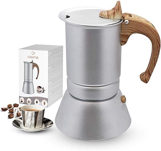 CHISTAR Moka Express Cafetera Italiana Espresso, 4 Tazas, Aluminio, Plateado: Amazon.es: Hogar