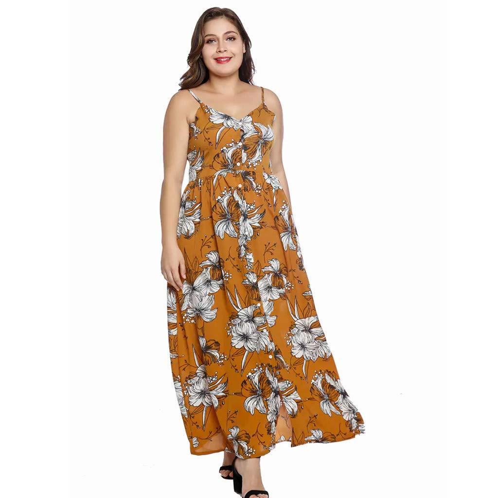 Women Camisole Dress Casual Bohemia Print Dress Swing Dress Sling Backless Empire Waist Floor Length Dresses (Yellow, 3XL)