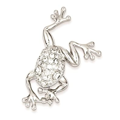 Amazon.com: Plata de ley 925 rodio CZ Rana Pin: Jewelry