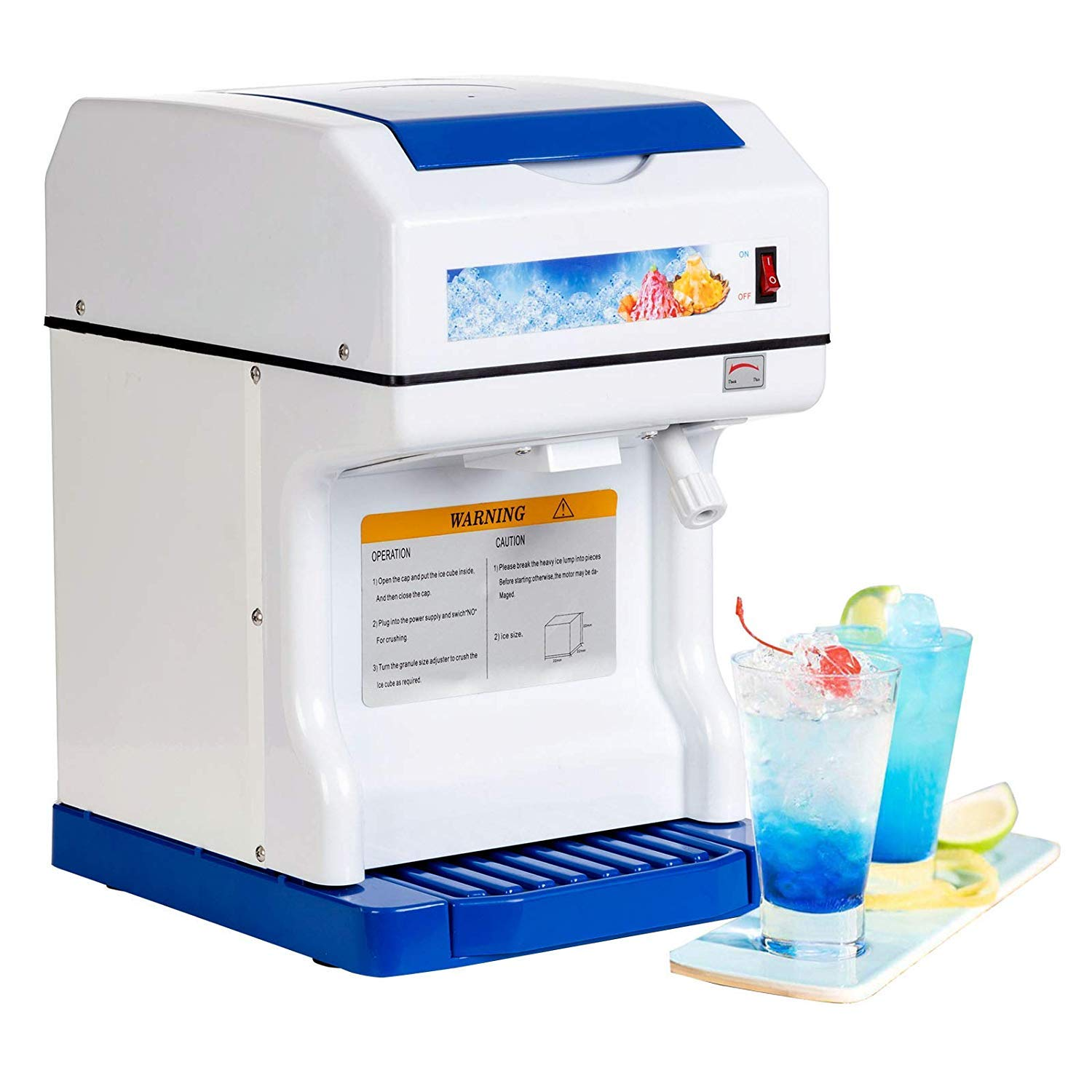 Nurxiovo Ice Shaver Machine Electric Ice Crusher Ice Shaving Machine Commercial Ice Crusher Snow Cone Maker Machine Shaved Ice Crusher, 350 r/m Perfect For Parties