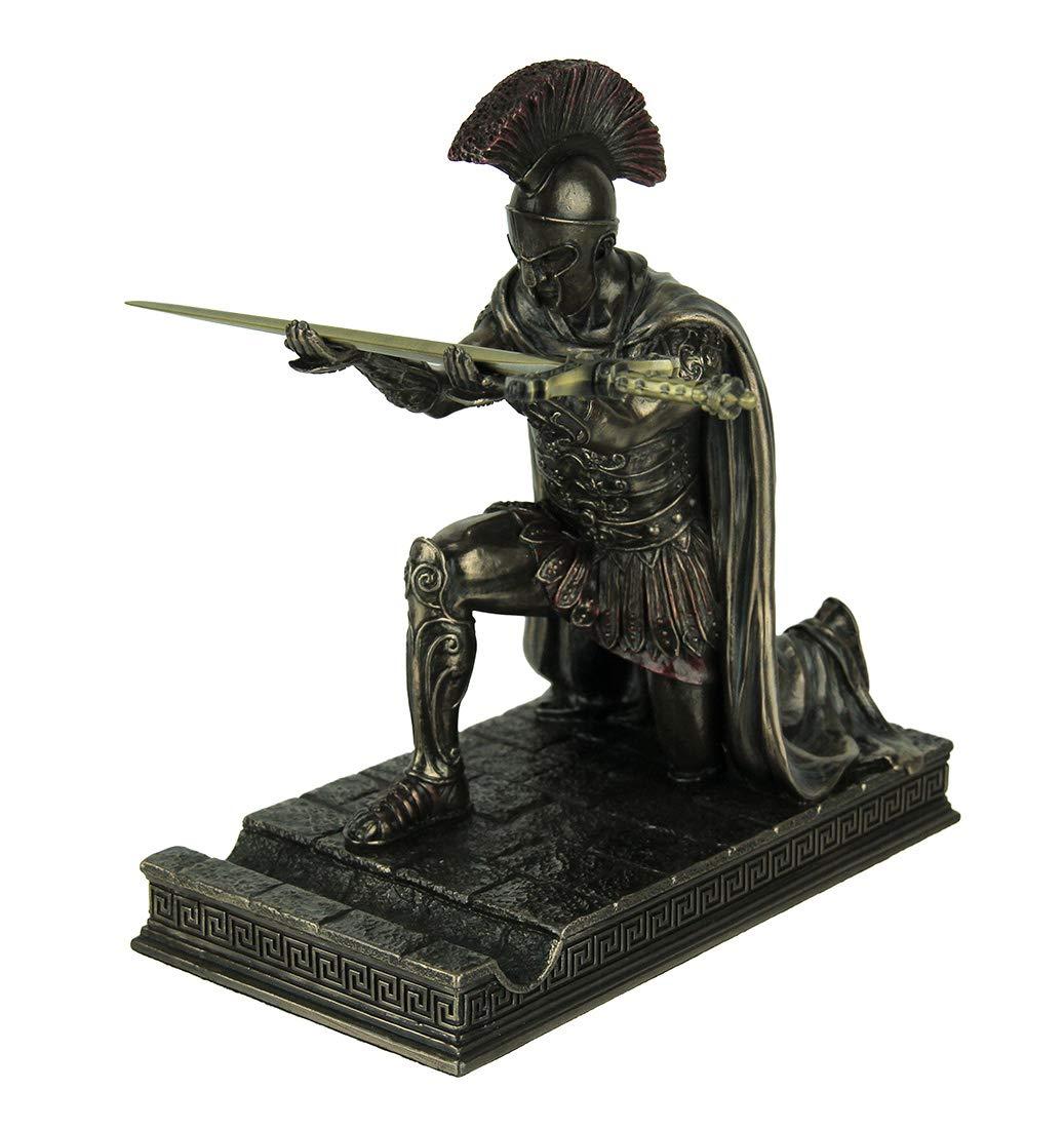 Resin Letter Openers Roman Commander Kneeling Letter Opener/Pen Holder Bronze Finish Statue 6.5 X 7 X 3.5 Inches Bronze by Veronese Design