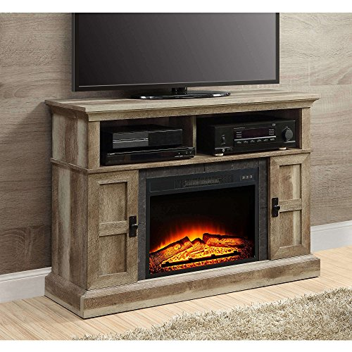 "Whalen Furniture Media Fireplace and TV Console Stand Fits Up to 55"" (Weathered)"