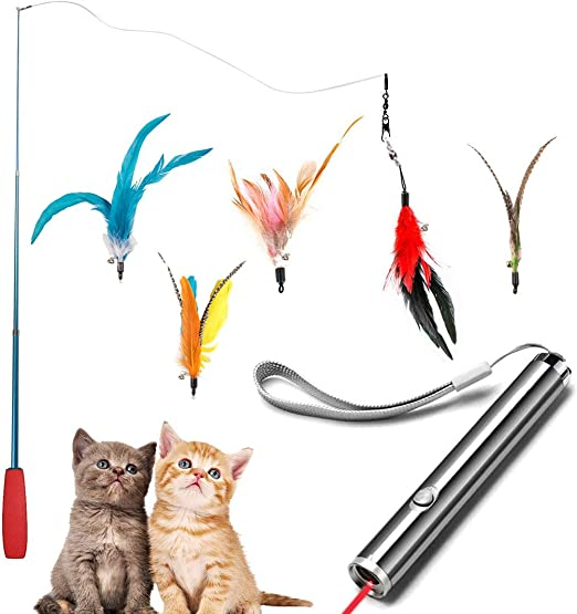 Dioxide 7 Piezas de Juguetes para Gatos, Juguete de Plumas de Gato 1 Varita Retráctil con 5 Plumas de Ave, 2 n 1 Función Mascota Gato Captura Juguetes De Entrenamiento(Baterías no Incluidas):