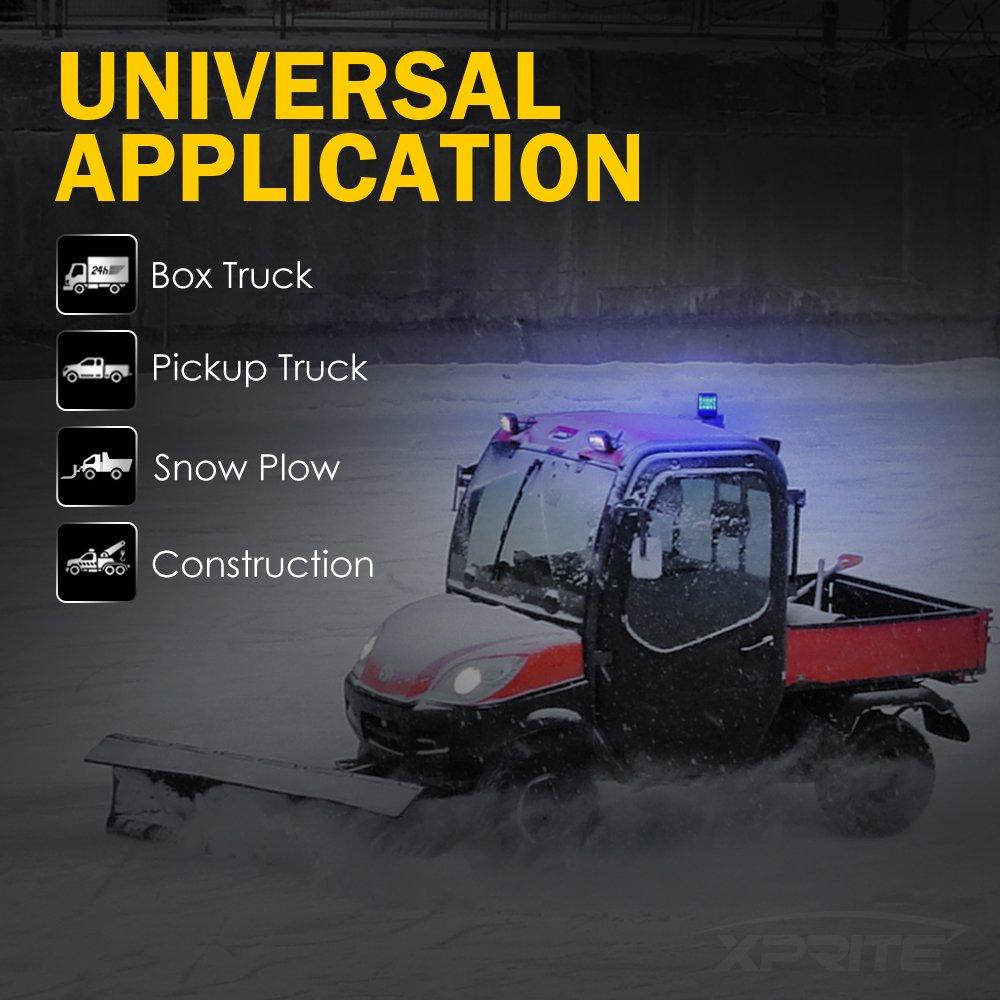12LEDs Emergency Warning Caution Flashing Light for Snow Plow Truck UTV 12v Vehicle with Magnetic Mount Xprite Amber//Yellow Rotating Revolving LED Beacon Strobe Light