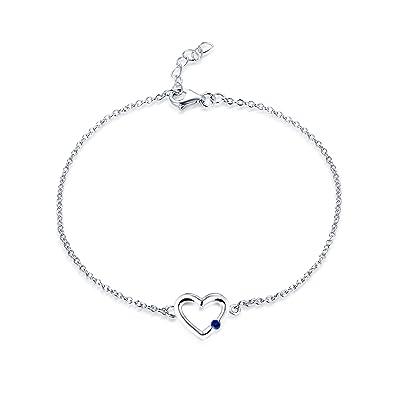 45fe5d5f2720 JO WISDOM Pulsera corazón plata 925 mujer con circonita cúbica AAA  Septiembre piedra natal zafiro azul  Amazon.es  Joyería