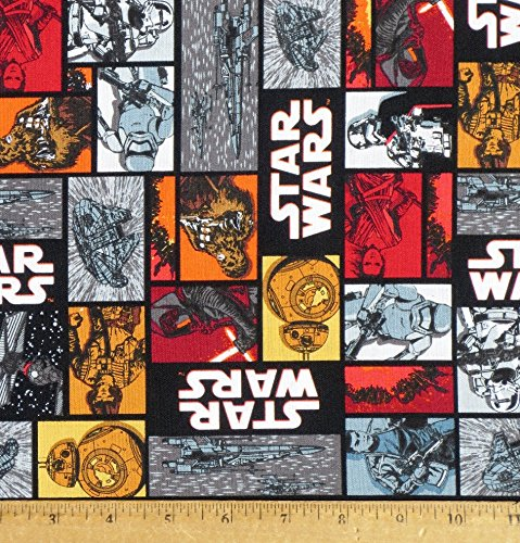 1 Yard - Star Wars Vll Character Squares Cotton Fabric - Officially Licensed (Great for Quilting, Sewing, Craft Projects, Throw Pillows, Quilts & More) 1 Yard X 44