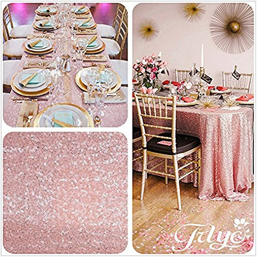 """TRLYC Cute 50""""*50"""" Sparkly Blush Pink Sequin Tablecloth for Wedding Party Banquet"""