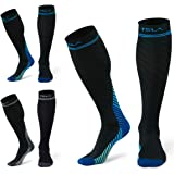TSLA 3 Pairs Compression Socks, 20-30 mmHg Travel Sport Medical Varicose Pregnancy Swelling Knee High Support Socks