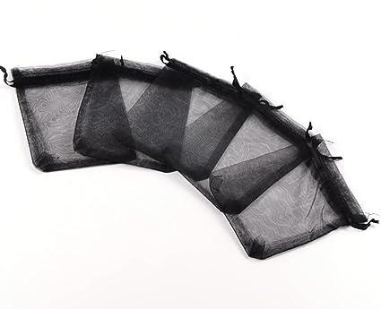 50 Negra bolsitas de organza para regalo (10 x 12 cm bolsa ...