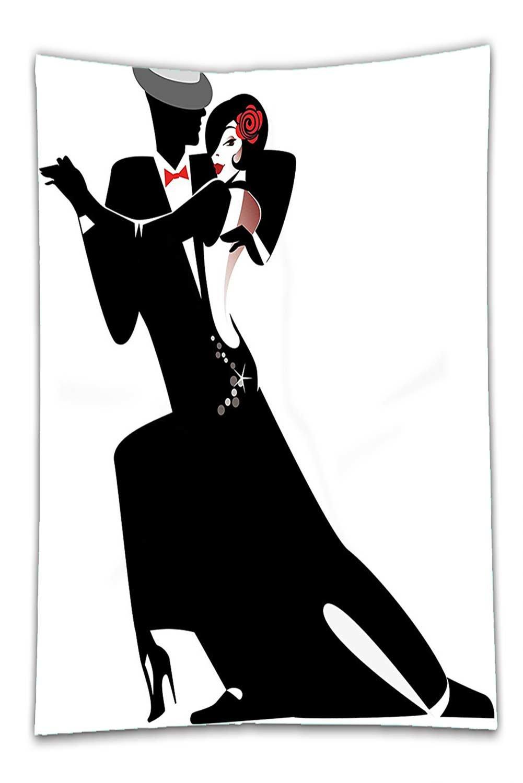 Nalahome Fleece Throw Blanket Girls Decor Man and Woman Partners Romantic Dance Tango Waltz Lovers in Rhythmic Music Art Print Black White