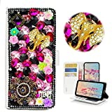 STENES ZTE Blade Z Max Case - Stylish - 3D Handmade Bling Crystal Elephant Pretty Jewelry Floral Wallet Credit Card Slots Fold Stand Leather Cover for ZTE Blade Z Max/ZTE Z982 - Black