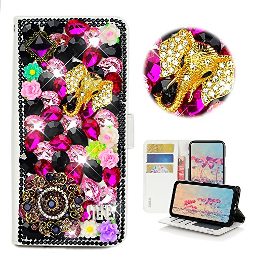 STENES iPhone 5/5S/SE Case - Stylish - 3D Handmade Bling Crystal Elephant Pretty Jewelry Floral Design Magnetic Wallet Credit Card Slots Fold Stand Leather Cover for iPhone 5/5S/SE - Black