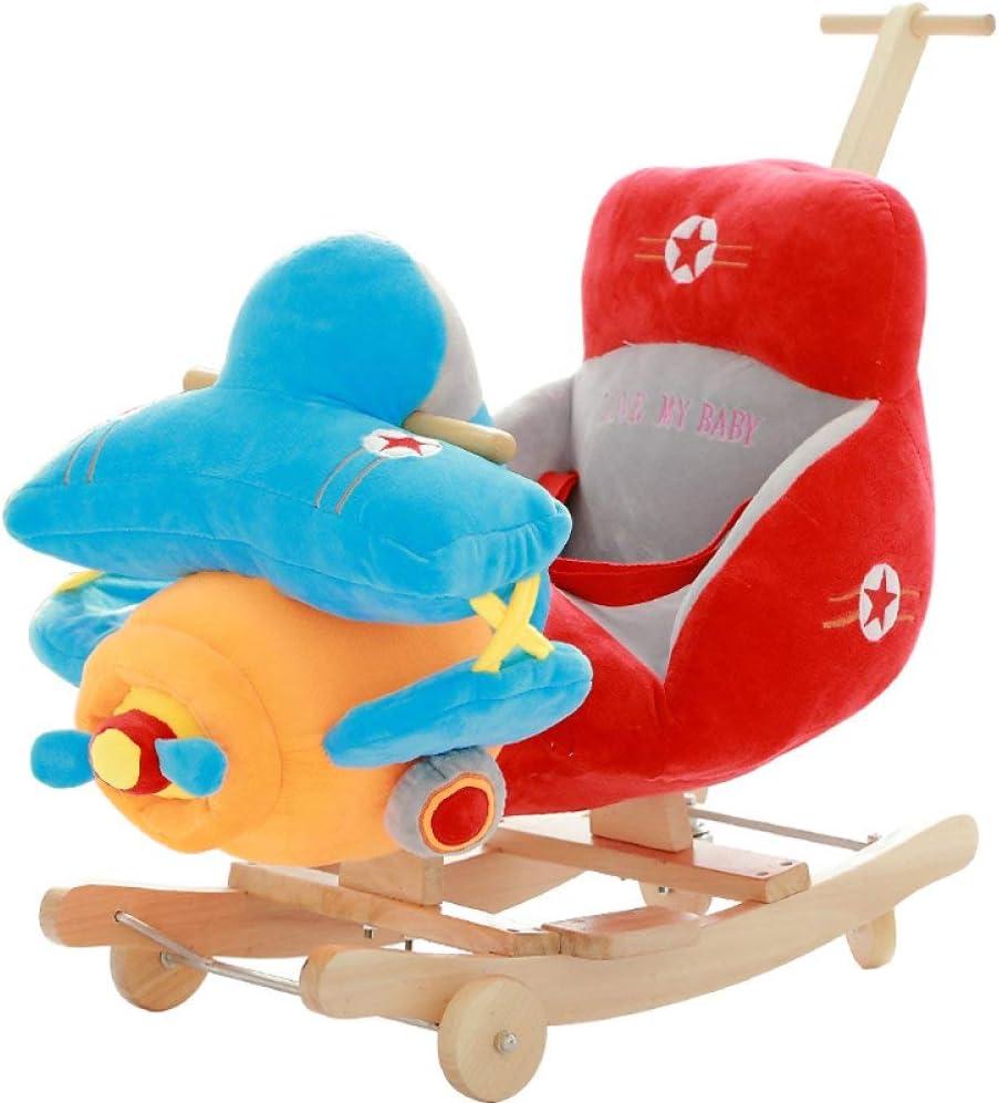 Rocker Correpasillos del caballo mecedora de madera silla del bebé 2 en 1 doble uso del caballo de oscilación de la felpa con las ruedas For1-4Years Niño Niños y niñas Niños Nursery del caballo de osc