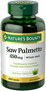 Nature's Bounty Saw Palmetto 450 mg Capsules 250 ea (Pack of 3)