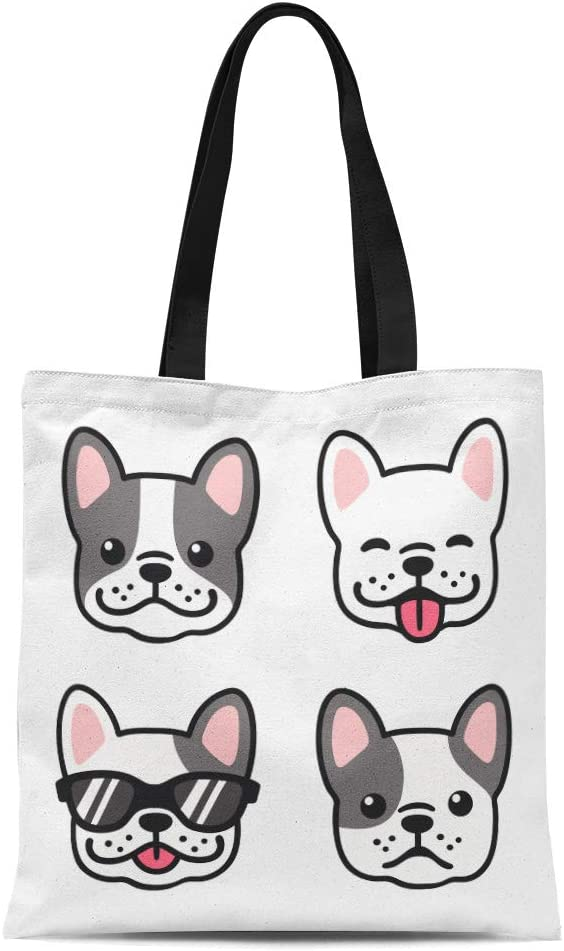 Semtomn Cotton Canvas Tote Bag Dog French Bulldog Cartoon Face Cute Frenchie Puppy Drawing Reusable Shoulder Grocery Shopping Bags Handbag Printed