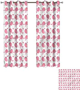 """Cash Hoover Blackout Curtains Baby,Abstract Love Themed Bird,Blackout Draperies for Bedroom Living Room 27"""" Wx72 L,2 Panels"""