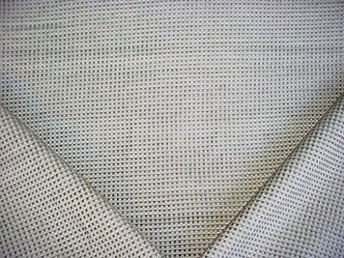 279H13 - Grey / Grey White Over-Scaled Woven Embroidered Check Chenille Designer Upholstery Drapery Fabric - By the ()