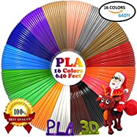 PLA 3D Pen Filament Refills(16 Colors, 40 Feet Each) Bonus 250 Stencil eBook - Dikale 3D Printing Pen Filament 1.75mm Total 640 Feet for DigiHero MYNT3D Hongdak iogo3D Canbor PACKGOUT 3D Printing Pen by dikale