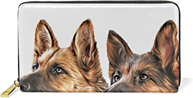 Shepherd Dog Womens RFID Blocking Zip Around Wallet Genuine Leather Clutch Long Card Holder Organizer Wallets Large Travel Purse