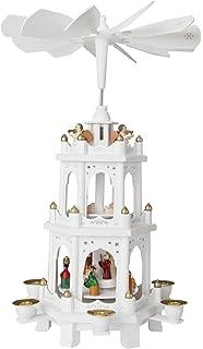 brubaker christmas pyramid 18 inches white wooden nativity play 3 tier carousel - German Christmas Pyramid Kit