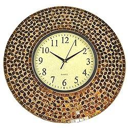 LuLu Decor, 19 Amber Flower Mosaic Wall Clock, 4.50 Mosaic Border, Dial 9 Coffee Cement (LP74)