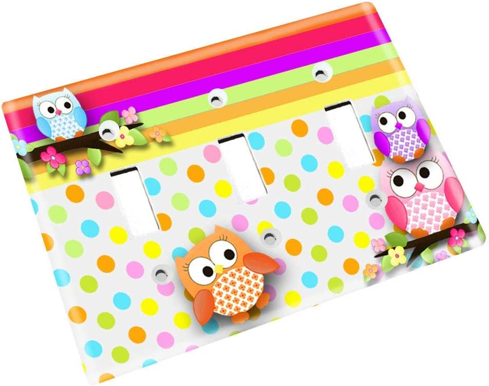 Polka Dot Owl Girls Nursery Bedroom Light Switch Cover LS0072 Double Decora