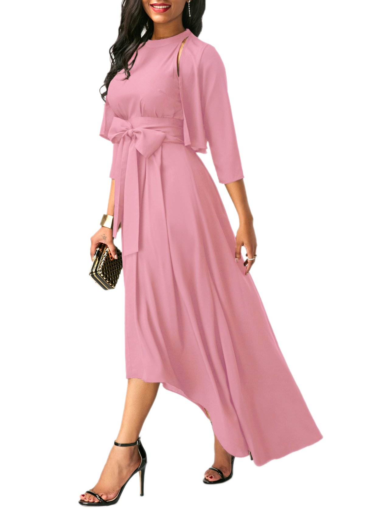 Lalagen Womens Plus Size Sleeveless Belted Party Maxi Dress with Cardigan by Lalagen (Image #5)