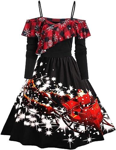 iLOOSKR Fashion Womens Cocktail Dress Long Sleeve Printed Hem Flare Dress Dress