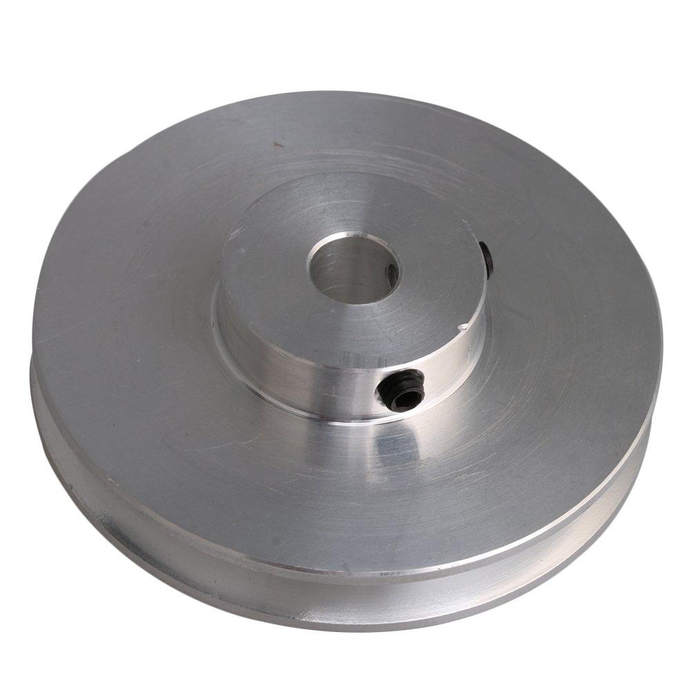 Cnbtr Argent en alliage d'aluminium simple cannelure fixe trou V type Poulie pour moteur Tige 0,3–0.5cm PU rond ceintures