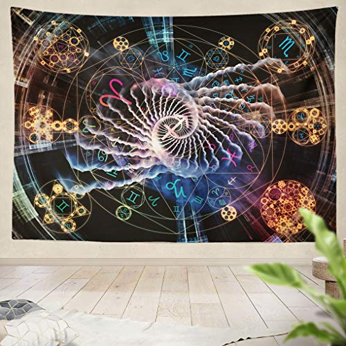 Summor Tapestry Astral Connection Series Backdrop Zodiac Fractal Geometry Symbols Works Magic Sacred Occult Astrology Hanging Tapestries 60 x 80 inch Wall Hanging Decor for Bedroom Livingroom Dorm