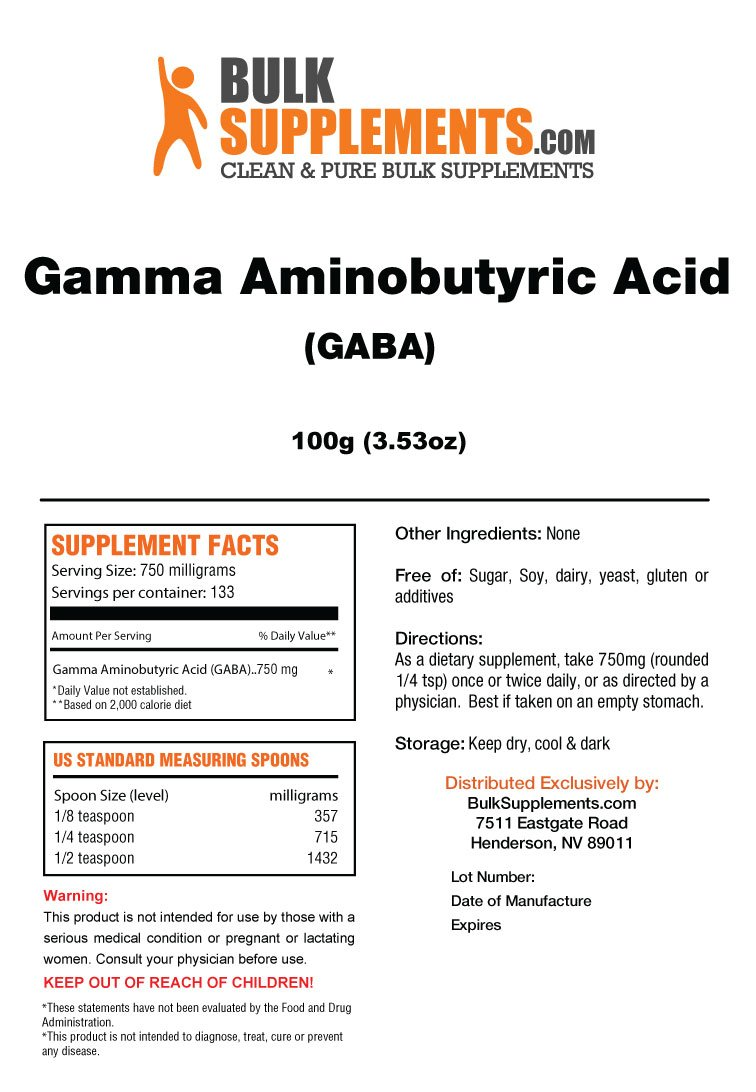 BulkSupplements GABA (Gamma Aminobutyric Acid) Powder (100 Grams)