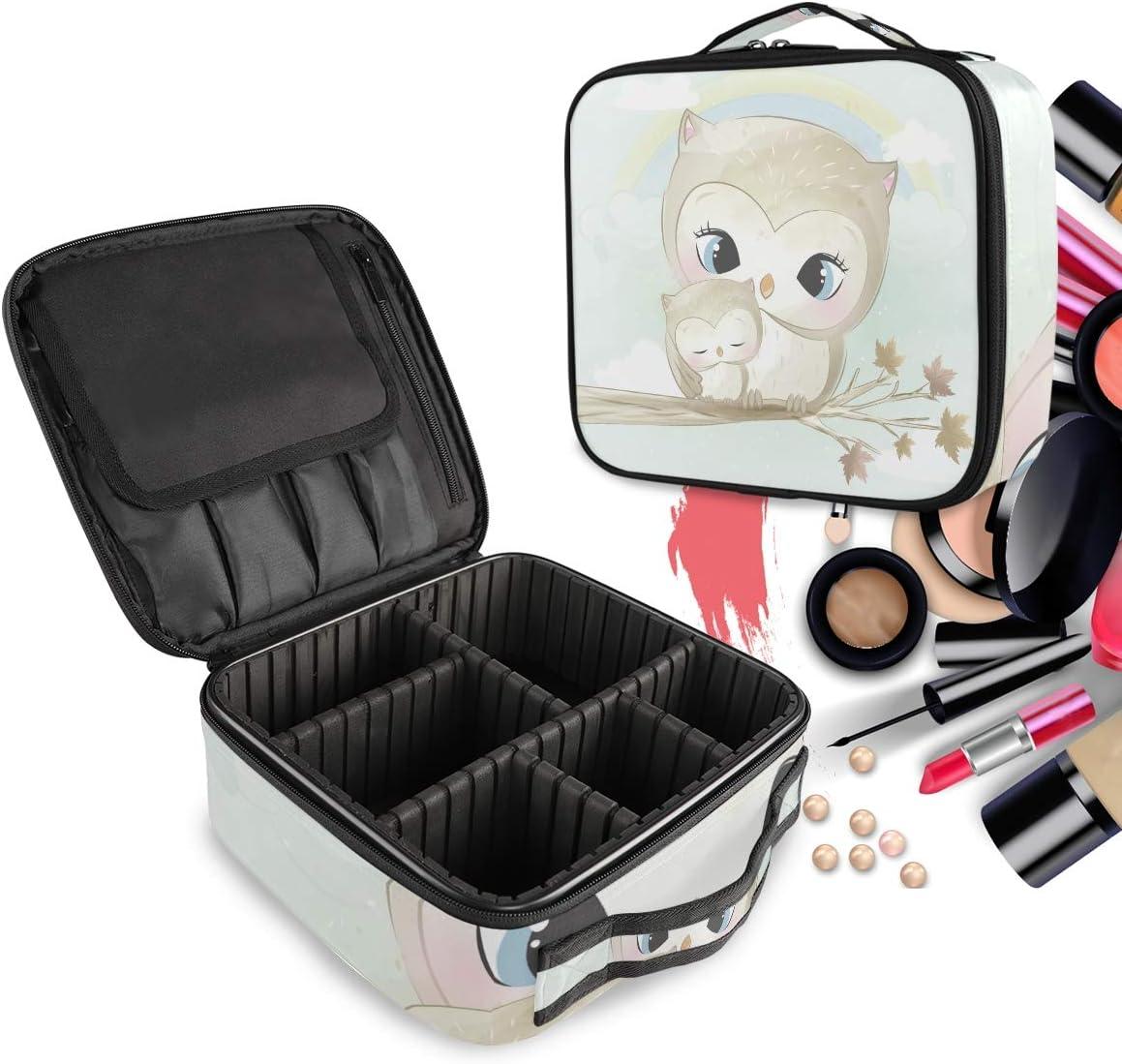 Búho Gris Madre Bebé Pájaro Bolsa de Maquillaje Organizador de Cosméticos Portátil Estuche Mochila con Divisor Ajustable para Mujeres Niñas