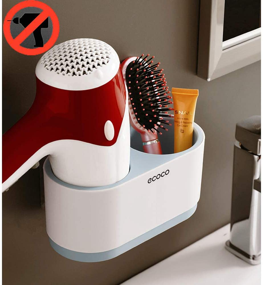 IKEAR Bathroom Holders Hair Dryer Holder Wall Mounted No Drilling Hair Care & Styling Tool Organizer Bathroom Storage Basket for Blow Dryer Curling Wand Hair Straightener Brushes Trays