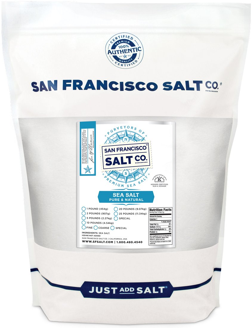 Pacific Ocean Gourmet Sea Salt - 5 lbs. Bulk Fine Grain by San Francisco Salt Company