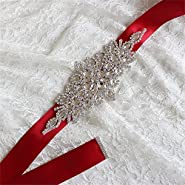 Vicokity Bridal Rhinestone Sash Belt With Ribbon For Wedding Prom Evening Dresses