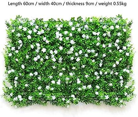 SZ Plancha Alfombra de Césped Artificial 60 * 40cm Jardín Vertical Decoración Interior Pared Hierba (EU Blanco): Amazon.es: Hogar