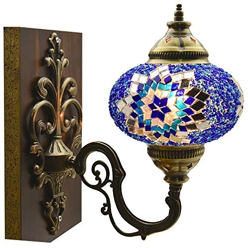 Turkish Moroccan Mosaic Tiffany Glass and Metal Wall Light Sconce (Ocean Breeze)