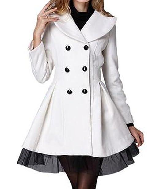 Chinatera agua-Abrigo para mujer lana-Chaqueta térmica para el verano y primavera (macho (34-36),)  color blanco: Amazon.es: Ropa y accesorios